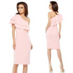 Rózsaszín fodros félvállas alkalmi ruha