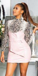 Rózsaszín magas derekú bőrhatású  szoknya