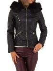 Fekete szőrmés bőrhatású  téli  kabát